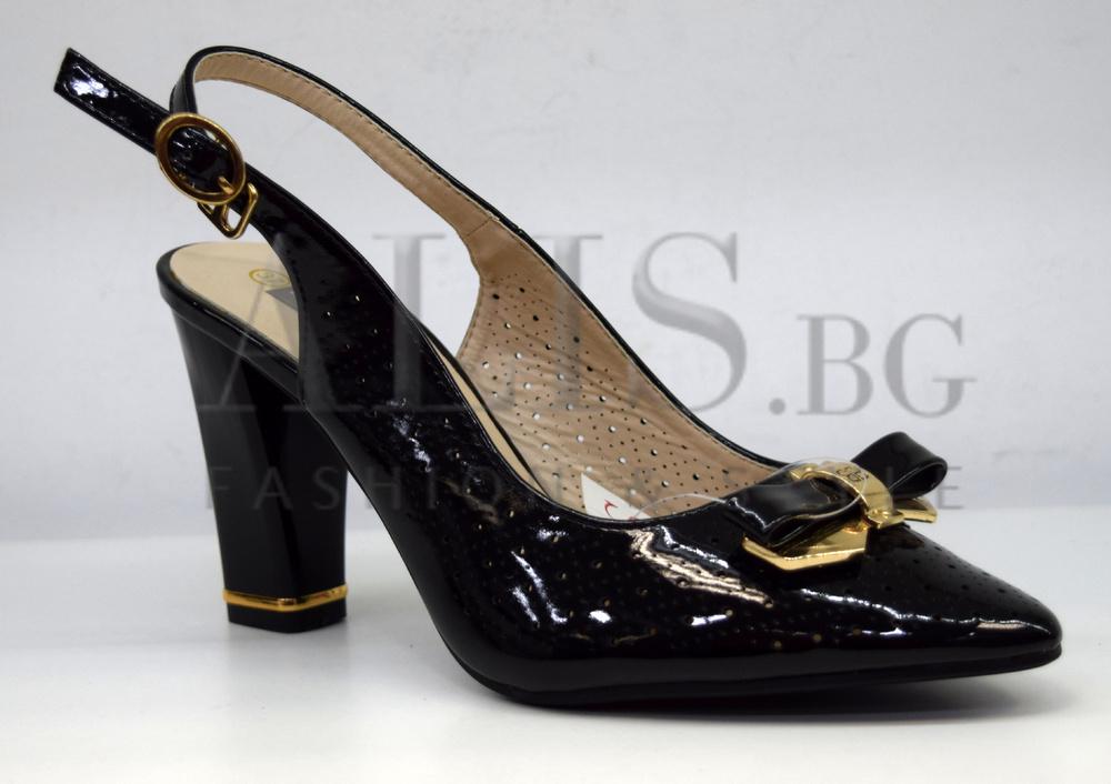 дамски обувки естествена кожа на ток