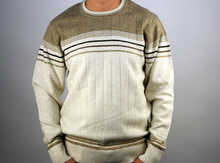 Стилен мъжки пуловер в бежово ВЪЛНА