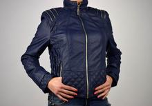 Стилно дамско яке в тъмно синьо