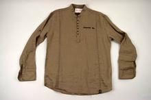 Мъжка ленена риза МОДЕЛ  в кафяво