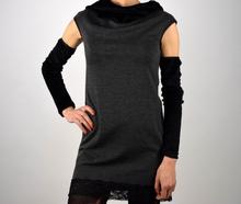 Дамска авангардна рокля/туника в сиво
