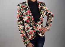Дамско модно сако с флорален десен