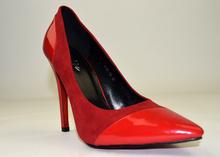 Дамски елегантни обувки - червен лак