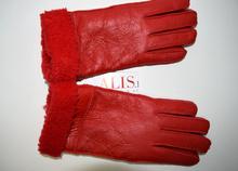 Дамски ръкавици - 018 - ЕСТЕСТВЕНА КОЖА - червени