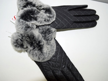 Дамски ръкавици ЕСТЕСТВЕНА КОЖА  - 022 - с богат пух- черни