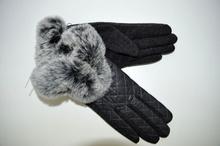 Дамски ръкавици ЕСТЕСТВЕНА КОЖА - 022 -с богат пух - сиви