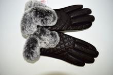 Дамски ръкавици ЕСТЕСТВЕНА КОЖА - 022 - с богат пух - кафеви