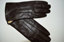Мъжки ръкавици ЕСТЕСТВЕНА КОЖА - тъмно кафяви- код 005