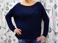 Дамски блузи с дълъг ръкав - JORDAN- тъмно синя