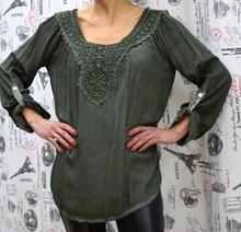 Дамска блуза с дълъг ръкав - SARA - тъмно зелена