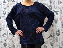 Дамска блуза с дълъг ръкав - BRITTANY- тъмно синя