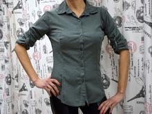 Дамска риза с дълъг ръкав - ABIGAIL- тъмно зелена