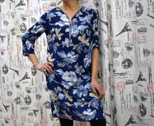 Дамска туника с дълъг ръкав - ELLIE- синя с цветя