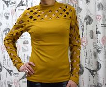Дамска блуза с дълъг ръкав  - MANY- горчица
