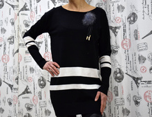 Дамска рокля с дълъг ръкав - ISABELLA - черна