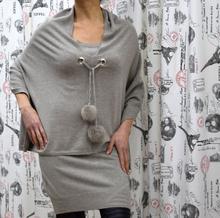 Дамска рокля с дълъг ръкав с пончо - ABIGAIL- бежова