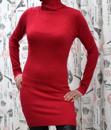 Дамска рокля с дълъг ръкав - ADDISON- червена