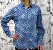 Дамска риза с дълъг ръкав -HEART- синя на сърца
