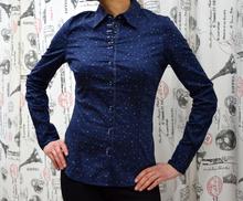Дамска риза с дълъг ръкав - ALEXIS - тъмно синя