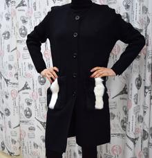 Дамска жилетка -KYLIE- черна с естествен заешки пух