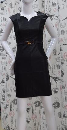 Елегантна дамска рокля - VICTORIA - черна /еко кожа/