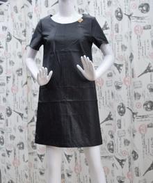 Елегантна дамска рокля - JASMINE - черна /еко кожа/