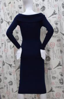 Дамска рокля с дълъг ръкав - ADDISON - тъмно синя