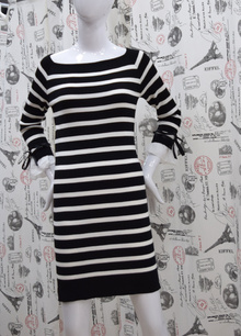 Дамска рокля с дълъг ръкав - ADELINA - черна