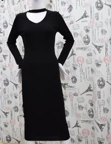 Дамска рокля с дълъг ръкав - DANY - черна