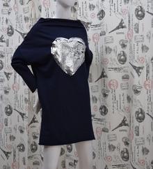 Ежедневна дамска рокля - HEART- тъмно синя