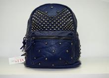 Дамска раница - LAURA - тъмно синя с капси