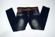 Дамски дънки големи размери / потури - HANNAH - тъмно сини с колан
