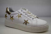 Дамски кецове - STARS - бели, златисти