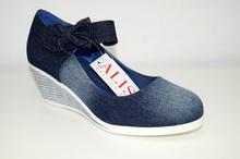 Дамски дънкови обувки на платформа НОВ МОДЕЛ - EVA - сини