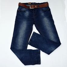 Модни мъжки дънки - AUSTIN - тъмно сини с колан