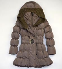 Стилно детско зимно яке с ефектна качулка - светло кафяво за 4 годишни
