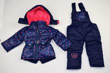Зимен комплект - HEARTS - тъмно син на розови сърца за 12, 18, 24, 30 и 36 месечни момиченца