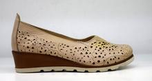 Дамски обувки с перфорация на платформа ЕСТЕСТВЕНА КОЖА БЪЛГАРСКО ПРОИЗВОДСТВО - бежови