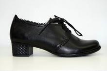 Дамски обувки на ток с връзки ЕСТЕСТВЕНА КОЖА БЪЛГАРСКО ПРОИЗВОДСТВО - черни