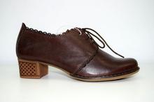 Дамски обувки на ток с връзки ЕСТЕСТВЕНА КОЖА БЪЛГАРСКО ПРОИЗВОДСТВО - кафяви
