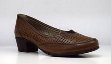 Комфортни дамски обувки на ток - KATIE - цвят кафе