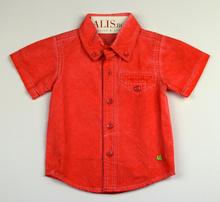 Спортно - елегантна риза с къс ръкав - MARK - корал от 6 до 36 месеца