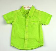 Спортно - елегантна риза с къс ръкав - MARK - пролетно зелена от 1 до 16г.