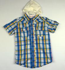 Спортно - елегантна риза с къс ръкав - KYLE - синя с цветни ленти за 6 и 8 годишни