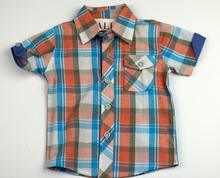 Спортно - елегантна риза с къс ръкав - ATIVO - сини и оранжеви ленти от 6 до 36 месеца