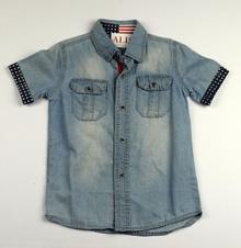 Дънкова спортно - елегантна риза с къс ръкав - BOYS - синя за 4 и 10г.