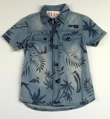 Дънкова спортно - елегантна риза с къс ръкав - NEW STYLE - синя за 2 годишни
