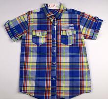 Спортно - елегантна риза с къс ръкав - FAVORITES- тъмно синя с цветни ленти за 12 и 14 г.