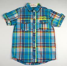 Спортно - елегантна риза с къс ръкав - FAVORITES - светло синя с цветни ленти за 12 и 14 г.