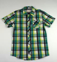 Спортно - елегантна риза с къс ръкав -ATIVO - зелена на цветни ленти за 14 годишни
